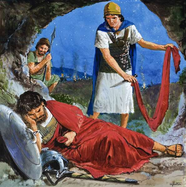 LAL300322 David by Uptton, Clive (1911-2006); Private Collection; (add.info.: The Story of David retold from the First Book of Samuel in the Bible: Saul's Escape. Original artwork for the illustration on p9 of Treasure no. 230.); © Look and Learn; English, out of copyright